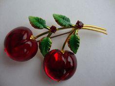 Vintage Austria Double Fruit Glossy Glass Cherry Brooch - so wonderfully pretty!