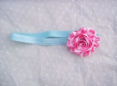 Pink striped flower headband on aqua infant by LittleAlmondBlossom, $5.50