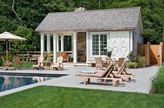 Berkshire pool house .... <3random mix of fashionable neutral wood outdoor funiture