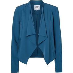 Vero Moda Draped Long Sleeved Blazer ($22) ❤ liked on Polyvore featuring outerwear, jackets, blazers, blazer, long sleeve jacket, blue blazer, blue blazer jacket, vero moda and blue jackets