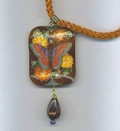 Cloisonné Butterfly Pendant Necklace . Starting at $9 on Tophatter.com!  http://tophatter.com/auctions/17423