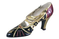 Evening Shoes, Hellstern & Sons, Patented, Paris, ca 1920-1928, French, glossy kid leather inlaid with contrasting colors, six thin crossed straps on instep, leather sole, heels covered in kid leather.