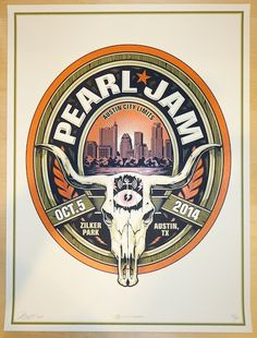 2014 Pearl Jam - ACL Festival Silkscreen Concert Poster by Mark 5 AP