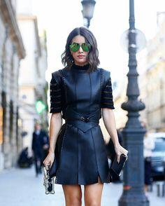 Camila Coelho wearing Louis Vuitton leather dress at Paris fashion week (October 2016)