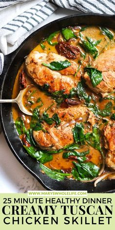 This Creamy Tuscan Chicken Skillet Recipe is an easy one-pan dinner made full of flavor with Whole30-friendly ingredients. Ready in just 25 minutes! #OnePanDinners #MarysWholeLife Paleo Whole 30, Whole 30 Recipes, New Recipes, Healthy Recipes, Easy Weeknight Dinners, Easy Meals, Chicken Skillet Recipes, One Pan Dinner, Tuscan Chicken