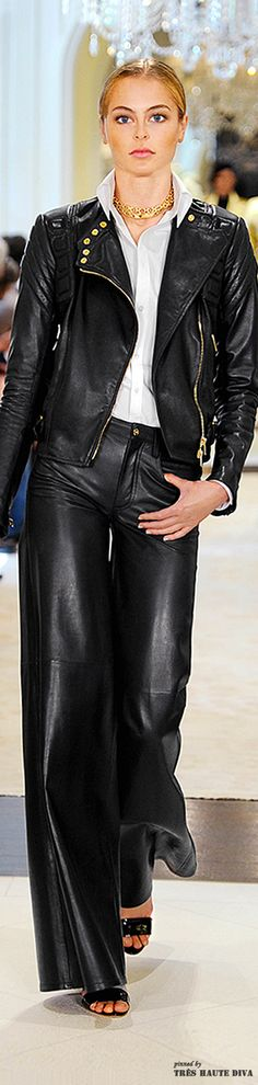 Ralph Lauren Resort 2015 Fashion Show Ralph Lauren Style, Ralph Lauren Collection, Looks Style, My Style, Leather And Lace, Leather Pants, Black Leather, Fashion Show, Fashion Design
