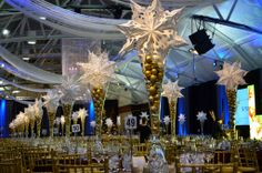 snowflakes decor for Christmas at la gare windsor Snowflake Decorations, Windsor, Snowflakes, Chandelier, Ceiling Lights, Lighting, Christmas, Home Decor, Train Station
