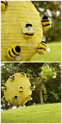 Weekday Crafternoon: Beehive Piñata - What? Okay, I have to start liking Piñatas now! Bee Crafts, Crafts For Kids, Rock Crafts, Bee Happy, Camping Crafts, Bees Knees, Crafty, Birthday, Parties