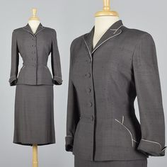 Large 28 Shop 1950s Silk Skirt Suit 50s Gray Suit Hourglass Wasp Waist Fitted Blazer Tailored Suit Femme Fatale Mid Century Silk Vintage