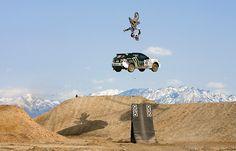 Travis Pastrana doing a kick flip over Ken Block on a dirt bike. Nitro Circus, Subaru Rally, Rally Car, Monster Energy, Triumph Motorcycles, Custom Motorcycles, Long Beach, Ducati, Offroad