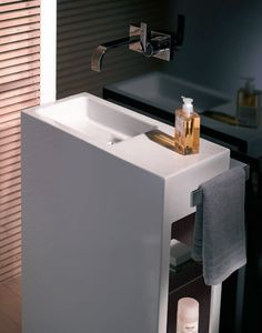 Clean lines, stylish design and fits into very small spaces. Bathroom Renos, Bathroom Wall Decor, Bathroom Renovations, Bathroom Furniture, Washroom, Small Bathroom, Tiny Powder Rooms, Bedroom Wall Colors, Vanity Units