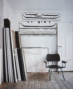 Loft style. Leaning canvases. prop styling