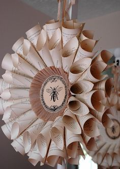 vintage book wreath (Add roses or other flowers to center or even woven in with pages?)