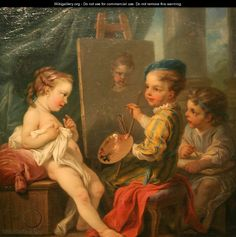 by Carle Van Loo; This painting is so funny and cute!