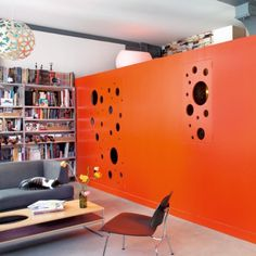 orange Cubes, Shared Office, Orange Interior, Small Spaces, Living Spaces, Cool Stuff, Inspiration, Furniture, Home Decor