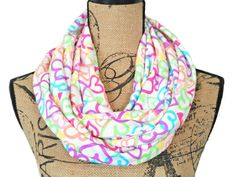 Hearts Infinity Scarf  Neon White Purple Orange Pink Lime Green Yellow Turquoise…