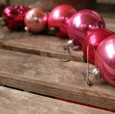 mid century set 6 glass pink variety ornaments $10.00