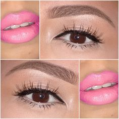 Lash Out and Pink Lips Pink Lips Makeup, Lip Makeup, Beauty Makeup, Eyeliner Pen, Mac Eyeshadow, Bobbi Brown Concealer, Maybelline Color Tattoo, Mac Blush, Mac Pigment