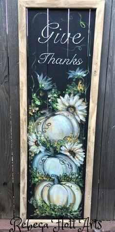 Give Thanks,White pumpkin art decor, hand painted window screen ,porch fall decor,original handmade