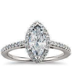 Bague de fiançailles diamant halo taille marquise en Platine