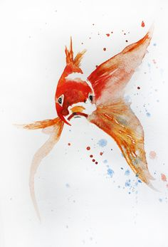 ORIGINAL Watercolor Painting little Koi Fish Gold Fish Sea Goldfish Girt for her…