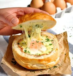 Ham, Egg & Cheese Bread Bowl | http://homemaderecipes.com/course/pastas-bread/15-bread-bowl-recipes
