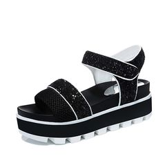 Ladies platform sandals/Velcro open toe sandals/Korean version of the thick end of the students shoes ** Read more at the image link.