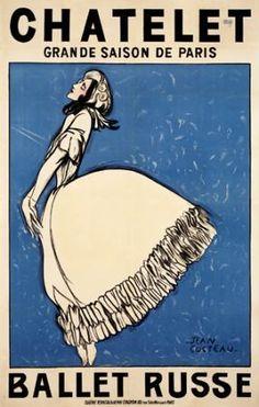 """Jean Cocteau met Serge Diaghilev in 1909 and illustrated the poster for the Ballets Russes production of """"Le Spectre de la Rose"""" at Paris's Théatre du Chatelet in ✯ Ballet beautie, sur les pointes ! Vintage Dance, Vintage Ballet, Victoria And Albert Museum, Vintage Advertisements, Vintage Ads, Monte Carlo, Paris, Ballet Illustration, Poster Retro"""