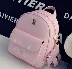 Purses And Handbags Prada Girly Backpacks, Pretty Backpacks, Cute Mini Backpacks, Stylish Backpacks, Backpacks For Girls, Little Backpacks, Leather Backpacks, School Backpacks, Kitty Backpack