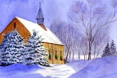 """December Painting Project: Make Your Own Holiday and Christmas Cards: 2009: """"St Mary's Church"""" by Donna Farrell"""