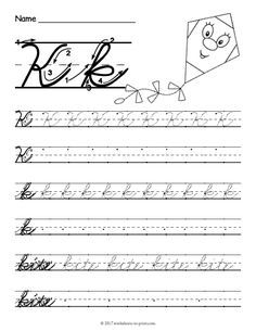 Help kids learn how to write both an uppercase and a lowercase cursive letter k with this fun handwriting worksheet featuring a kite. Cursive Writing Practice Sheets, Teaching Cursive Writing, Letter Practice Sheets, Handwriting Practice Worksheets, Cursive Writing Worksheets, Improve Handwriting, Handwriting Analysis, Cursive Uppercase Letters, Handwriting Alphabet