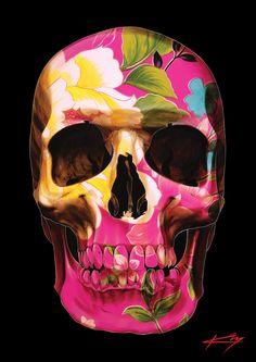 Unique beautiful designer skull artwork by Sunshine Coast artist Gerrard King. Original paintings, and prints for sale.
