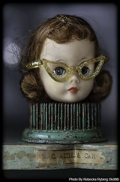 """""""I wanna dance with somebody, somebody who loves me"""" From Vintage Fairy Tales Found Object Art, Found Art, Vintage Fairies, Vintage Dolls, Doll Head, Doll Face, Halloween Doll, Creepy Dolls, Doll Parts"""