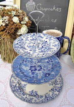 Johnson Bros. Devon Cottage Plates Blue Chintz 3 Tier Cake Stand