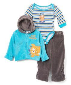 Look what I found on #zulily! Aqua & Gray 'Silly Monster' Fleece Zip-Up Jacket Set #zulilyfinds