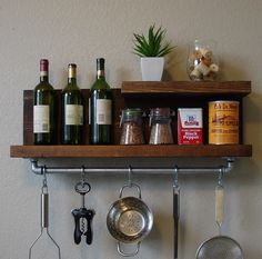 "Industrial Rustic 2 Tier Kitchen Wall Shelf Spice Rack w/ 24"" Pot Rack Bar & 5 S Hooks by KeoDecor on Etsy https://www.etsy.com/listing/167479573/industrial-rustic-2-tier-kitchen-wall"
