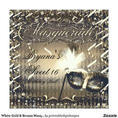 White Gold & Bronze Masquerade Mask Birthday Party Card