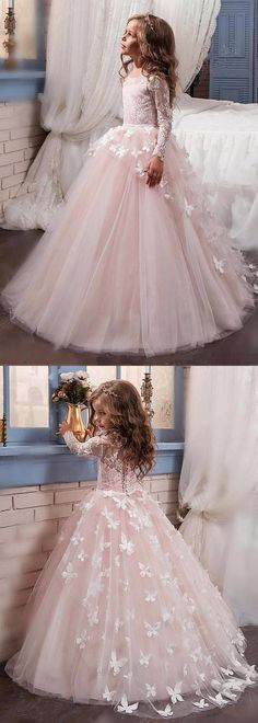 Stunning Tulle & Lace Scoop Neckline Ball Gown Flower Girl Dresses With Beaded Handmade Flowers