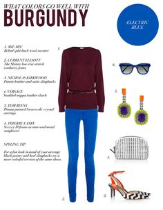 what color goes well with maroon | My Web Value Maroon Color Palette, Burgundy Skinny Jeans, Color Combinations For Clothes, Maroon Pants, Complimentary Colors, Black Trousers, Electric Blue, Brown And Grey, Pints