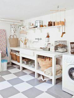 floors, dream, garag, basement laundry, white, sinks, laundry rooms, laundri room, utility rooms