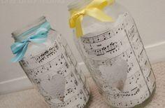 DIY Sheet Music Mason Jar Centerpieces
