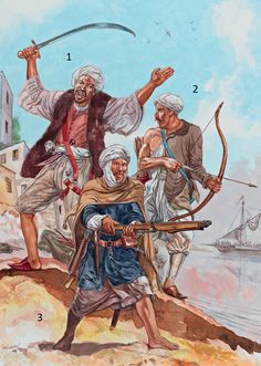 The Barbary Pirates: Raid on Corsica, c. 1480: 1: Barbary captain; 2: Bowman; 3: Berber crossbowman