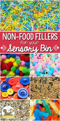 Non Food Sensory Bin Fillers. Need ideas for sensory bin materials that don't include food? You're in luck! This list will help you fill your sensory bin or table with non-food items in your Fall Sensory Bin, Toddler Sensory Bins, Sensory Tubs, Sensory Activities Toddlers, Sensory Rooms, Sensory Boards, Autism Activities, Sensory Bottles, Toddler Preschool