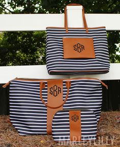 Travel in style with a Monogrammed Striped Leather Collection from Marleylilly- ON SALE NOW (ends Christmas List 2016, Marley Lilly, Striped Tote Bags, Pocket Books, Monogram Gifts, Travel Style, Me Too Shoes, Preppy, Diaper Bag
