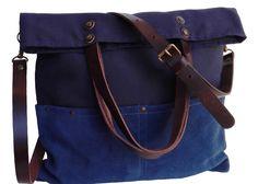 Bolsos de lona - Bolso de lona color azul/Mensajero/Correas cuero. - hecho a mano por 13sferas en DaWanda