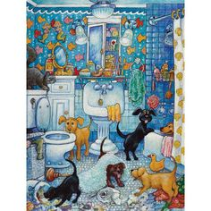 """""""More Bathroom Pups"""" ~ a 1000 piece jigsaw puzzle from Bits and Pieces. Artist: Bill Bell (2009)"""