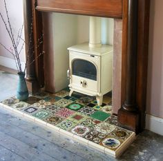 Wood Burner, Fireplace Tiles - House - paint schemes and large furniture Fireplace Hearth, Stove Fireplace, Fireplace Tiles, Fireplaces, Empty Fireplace Ideas, Fireplace Kitchen, Casa Hygge, Hearth Tiles, Vintage Fireplace