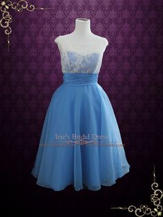 Blue Vintage Style Tea Length Formal Dress | Edena | Ieie's Bridal Wedding Dress Boutique
