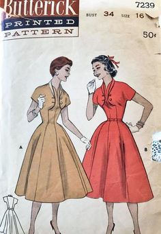 """Butterick 7239. 1955 Dress. Bust 34"""". Traced copy. Complete."""