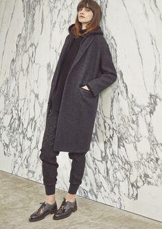 Loop-tweed Hooded Coat